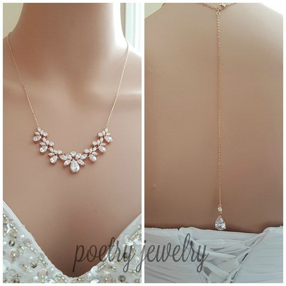 Rose Gold Bridal Necklace Crystal Bridal Back by poetryjewelry