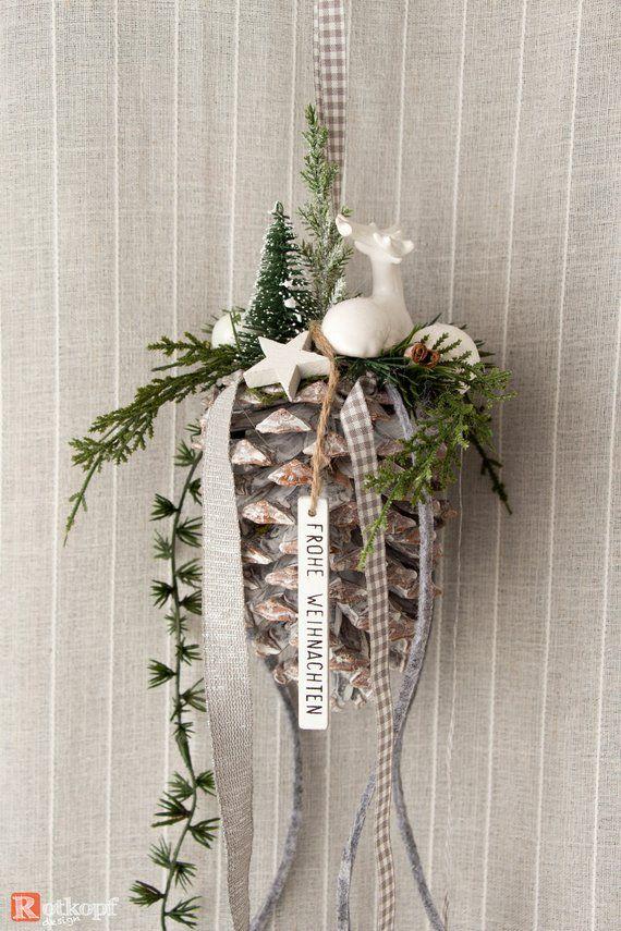 Tannenzapfen zum Aufhängen weiß grau Weihnachtsdekoration Türdekoration Fenster …