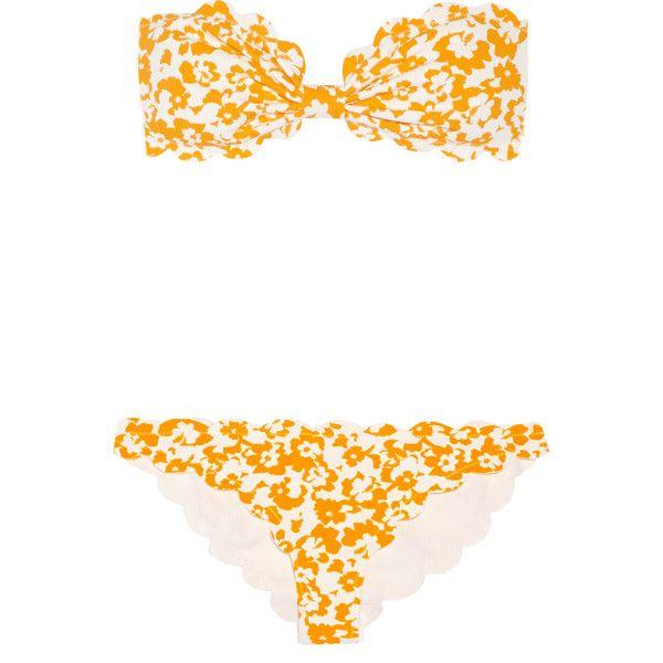 Marysia Antibes printed scalloped bandeau bikini (8 505 UAH) ❤ liked on Polyvore featuring swimwear, yellow, bandeau bikini top, floral bandeau bikini top, bandeau tops, floral two piece and marysia swim
