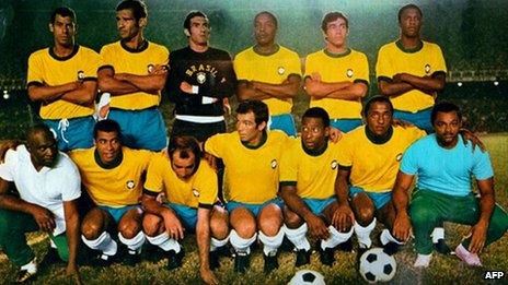 Brazil football team just before the 1970 World Cup in Mexico.