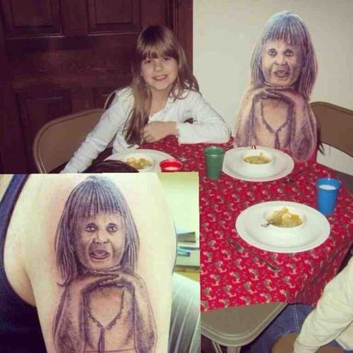 reallife tats 14 Terrible tattoos brought to life (22 Photos). I laughed so hard I cried at this!