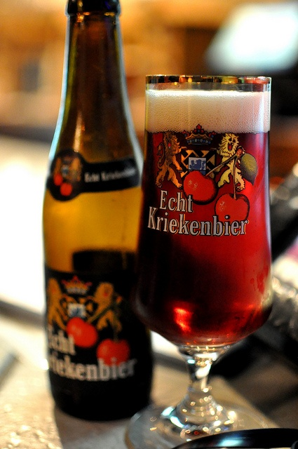 """Add cherries to a red-brown ale (like Rodenbach) and you get """"Echt Kriekenbier"""": real cherry beer. The taste of cherries is intense, but it's not too sweet. A really sensational beer by Verhaeghe, a small family brewery in Vichte (6,8 % alcohol). Photo by bluesleepy."""