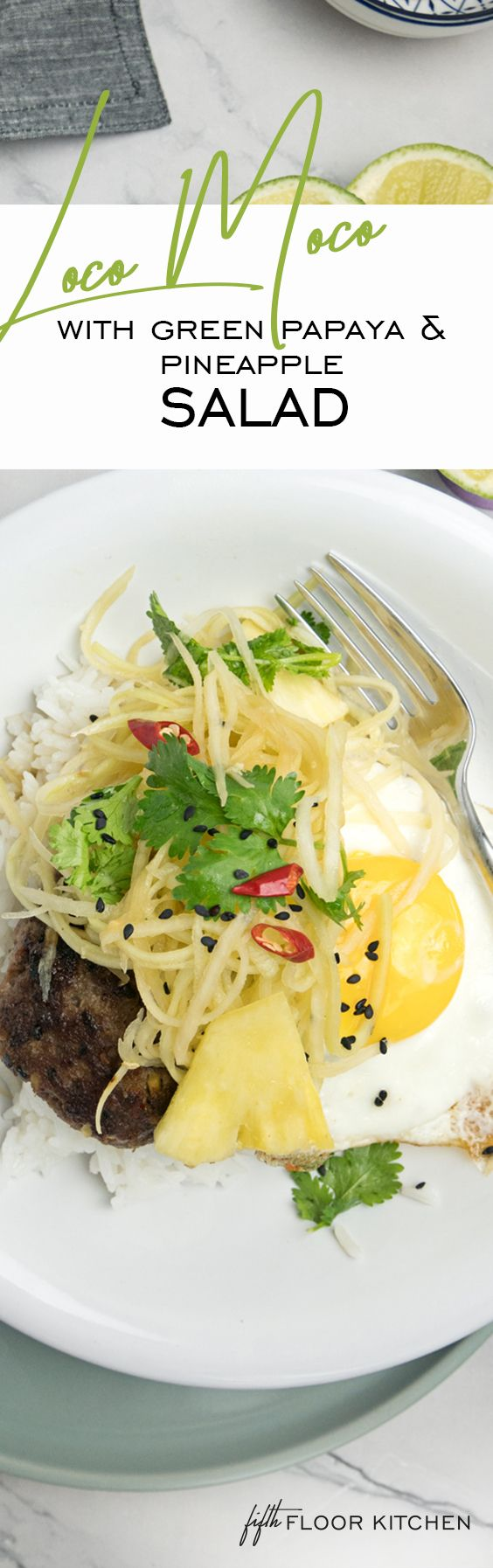 My healthy style loco moco will send you on a little holiday to Hawaii. This fresh and healthy style loco moco is with jasmine rice, a spicy burger patty, some fresh green papaya and pineapple salad, of course a fried egg sunny side up and a delicious sesame ginger dressing.