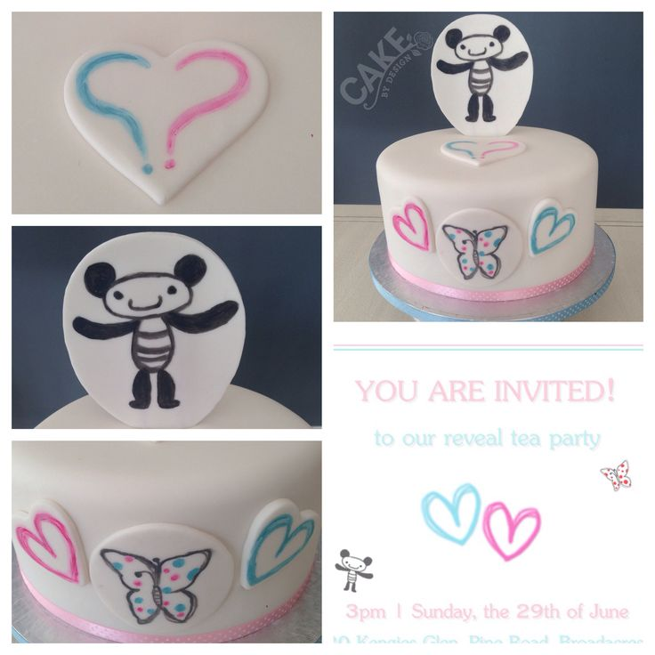 Gender Reveal Cake. Hand-painted elements inspired by the invitation which was designed by the parents-to-be. https://www.facebook.com/CakeByDesignSA