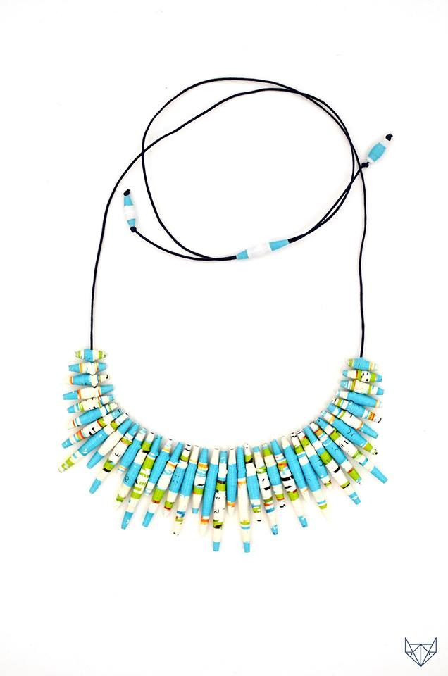Necklace made from paper beads