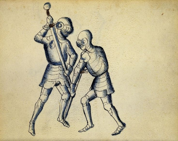 Cod. 11093, 18v: Book on Swordsmanship and Wrestling, mid-15th c. Austrian National Library, Public Domain