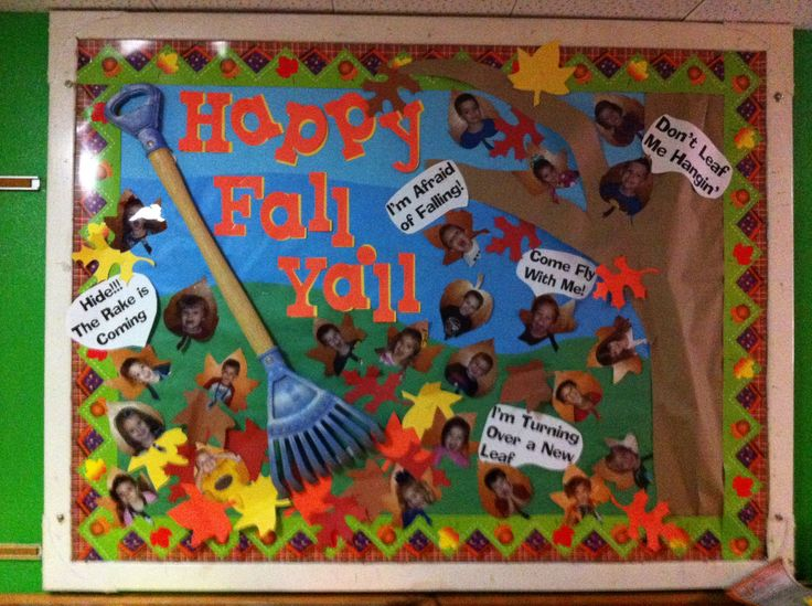 """""""Happy Fall Ya'll"""" is a fun title for a fall bulletin board display.  I like the rake that this teacher has added to her display to give it an eye catching 3D effect."""