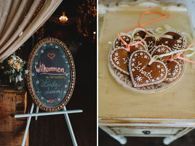 Oktoberfest wedding sign & the yummiest escort cards!