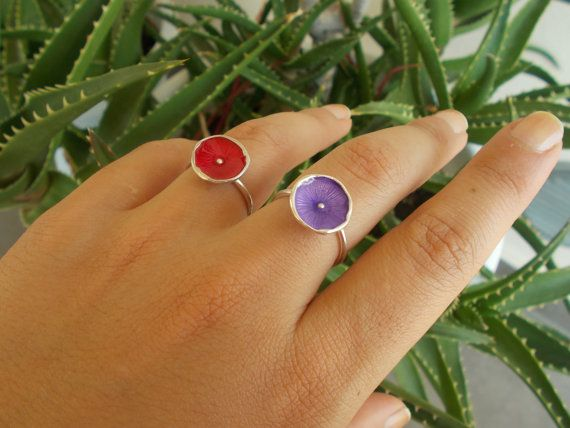 Sterling silver ring with colourful enamel by DRscreationsshop