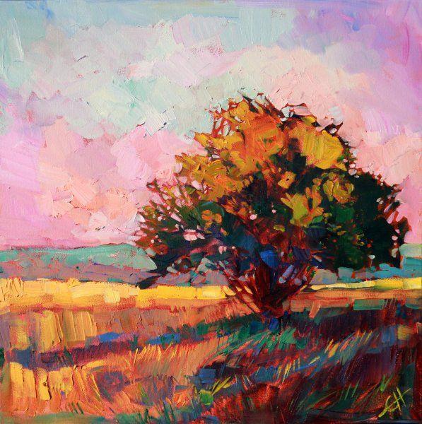 """Light Alone"" oak tree sunset oil painting by California impressionist Erin Hanson"