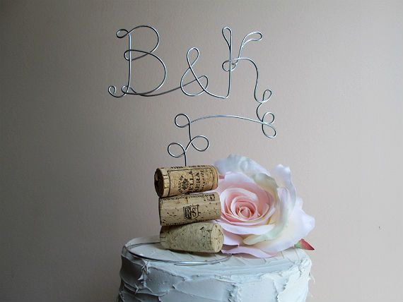 Vineyard Wedding Cake Topper with Your Initials - for the Wine Lovers - Vineyard Wedding, Wine Wedding Rustic Wedding, Country Wedding on Etsy, $25.00