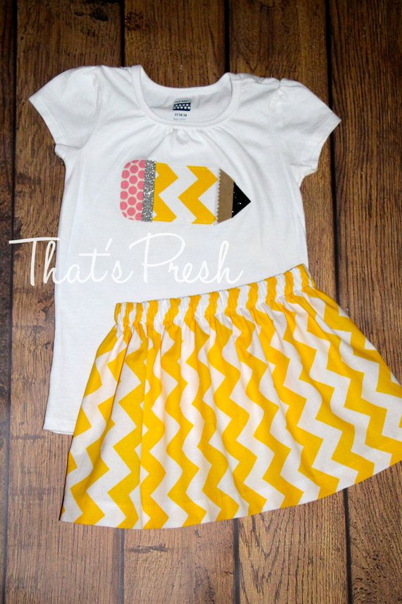 First Day of School Applique Pencil Shirt & Skirt yellow chevron made to order size 6 9 12 18 months 2 3 4 5  6 7 years