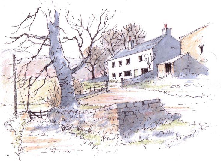 Yorkshire Dales farm ~ sketch ~ John Edwards