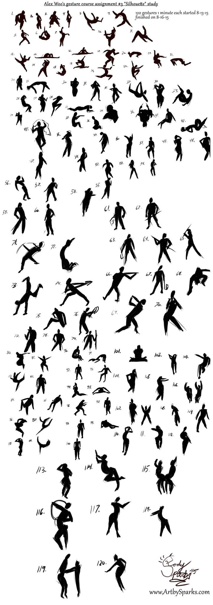 Finally finished my 2 hours worth of gesture silhouette studies for Schoolism. 120 of them for your viewing pleasure!