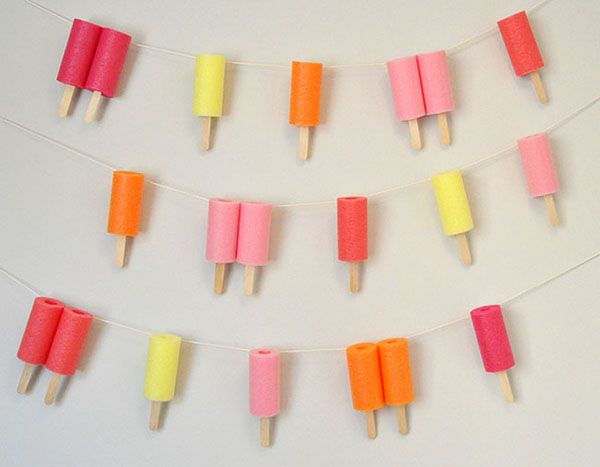 Jumbo Popsicle Garland made from pool noodles | Oh Happy Day! via Iowa Girl Eats