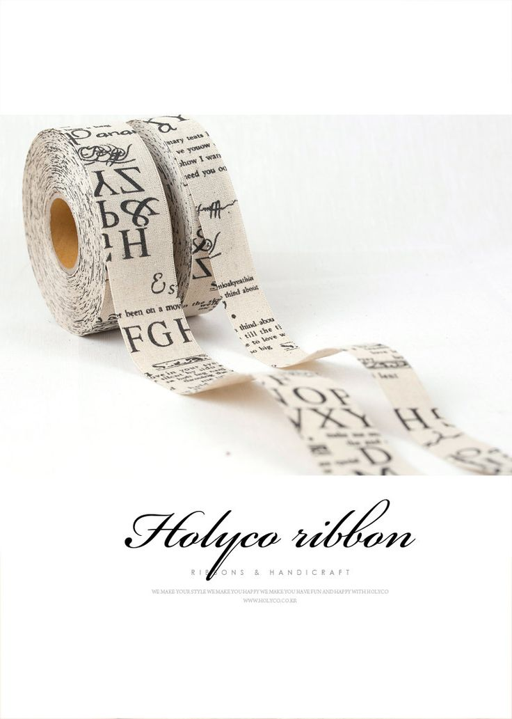"Linen Text Ribbon / 1"" (25mm), 1.5"" (40mm) / made in korea. by HOLYCO on Etsy"