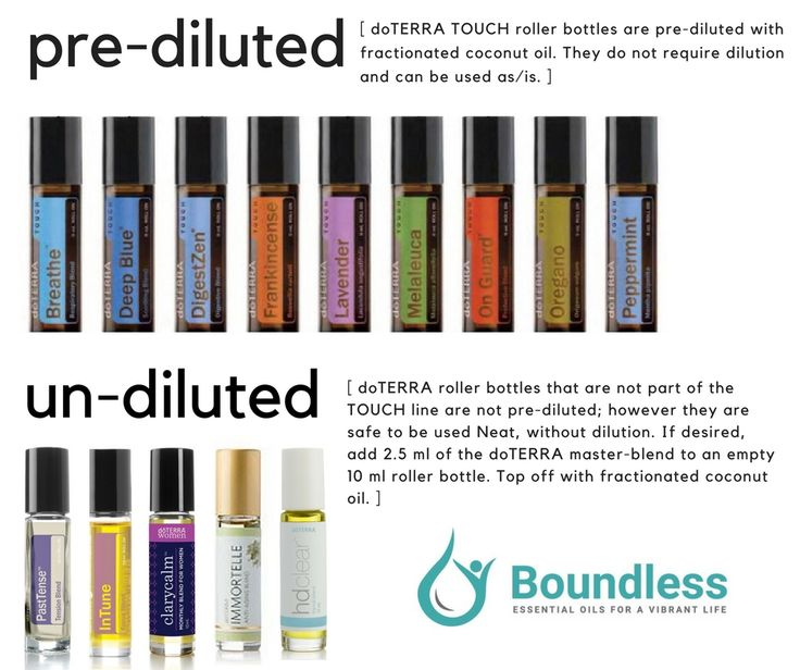 Not all doTERRA roller bottles are created the same! Rollers from the TOUCH line are pre-diluted. If a roller doesn't say TOUCH on the label, it is not pre-diluted. The undiluted rollers are safe to be used NEAT (without dilution) however, if you want to dilute to get more use out of the roller, you can use the roller as a master blend and create 3 or 4 diluted rollers from the master blend.