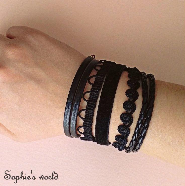 black bracs armparty! βραχιόλια, δερμάτινα και υφασμάτινα πολλα φορεμένα μαζί! https://www.facebook.com/Sophies-world-712091558842001/