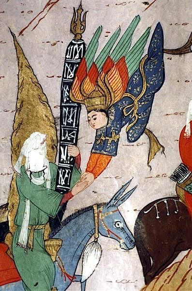 Mohammed, on a blue donkey, touching hands with the Archangel Gabriel, from the 1595 illustrated edition of the Siyer-i Nebi. Topkapi Palace Museum, Istanbul, Turkey.