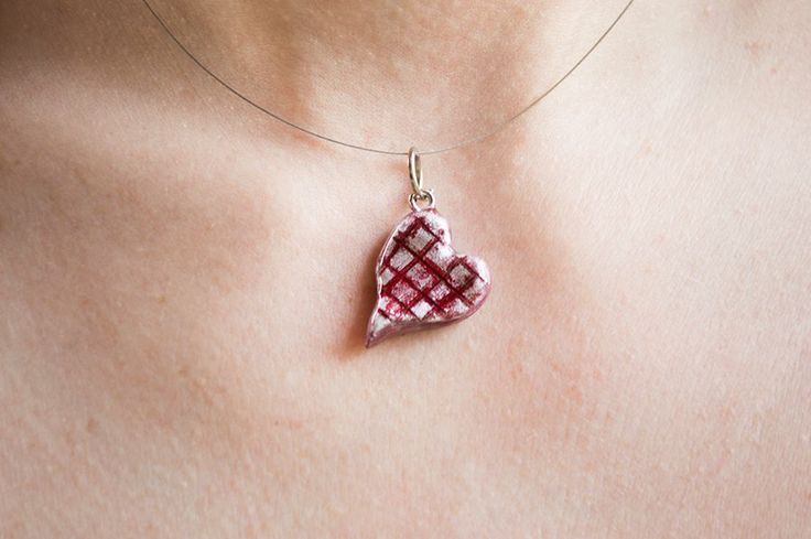 Clay heart necklace