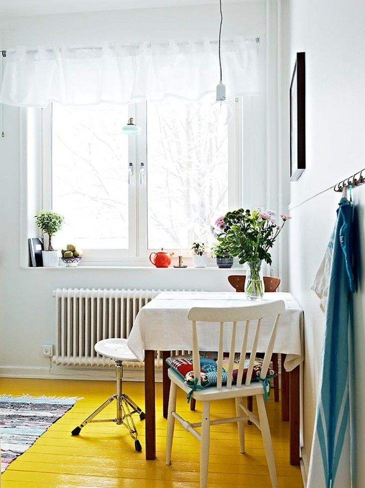 Yellow Floors in a Swedish Kitchen from Stadshem | Remodelista: Ideas, Home, White Rooms, Colors Kitchens, Yellow Paintings Floors, Small Spaces, Paintings Wood, House, Yellow Floors