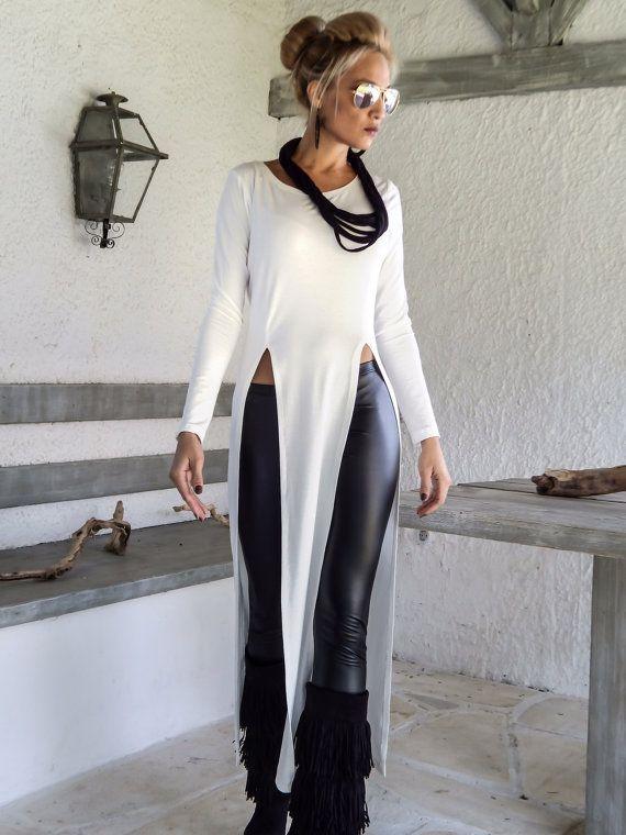 Ivory Asymmetric Long Blouse  / Ivory Blouse with Slits / Asymmetric Plus Size Blouse / #35132