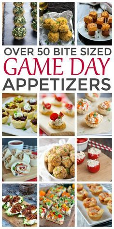 Over 50 Bite Sized Game Day Appetizers. Great ideas for your Super Bowl menu planning!