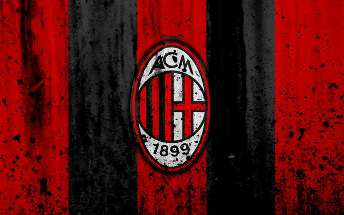Download wallpapers AC Milan, 4k, logo, Rossoneri, Serie A, stone texture, Milan, grunge, soccer, football club, Milan FC