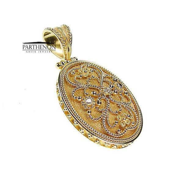 Handmade Byzantine Pendant 18k Solid Gold by ParthenonGreekJewels
