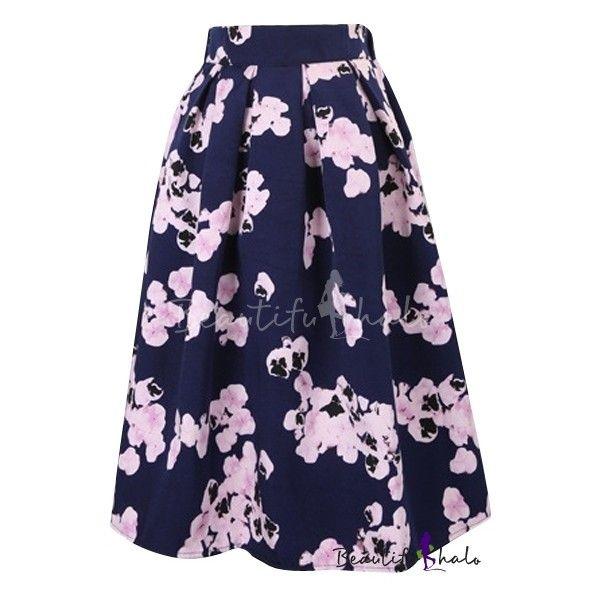 Vintage Floral Print High Waist Pleated Midi Skirt ($22) ❤ liked on Polyvore featuring skirts, high-waisted skirts, vintage pleated skirt, knee length pleated skirt, vintage skirts and blue midi skirt
