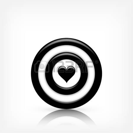 Vector illustration. Target with heart. Valentines day. Love. Aim. Vector