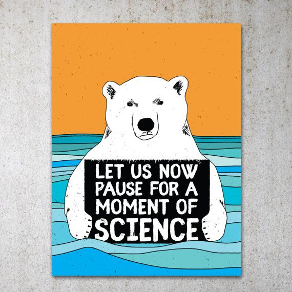 Science Bear PRINTABLE Protest Poster | Science March, March For Science, Climate Change, Trump Protest Sign