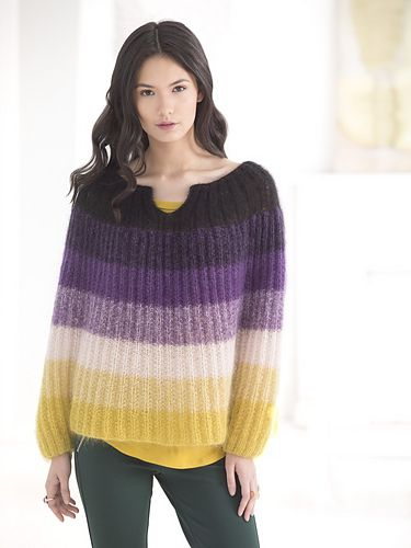 """FREE. From LionBrand.com: """"Knit a bit of luxury with this Cuffed Poncho made with LB Collection Silk Mohair. Designed by Irina Poludnenko."""""""