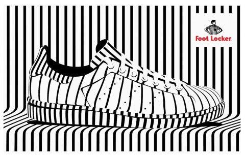 Footlocker Illustration by Alex Trochut. Sport shoe. Left perspective.