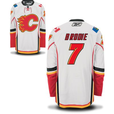 calgary flames 7 tj brodie road jersey white calgary flames hockey jerseys 031