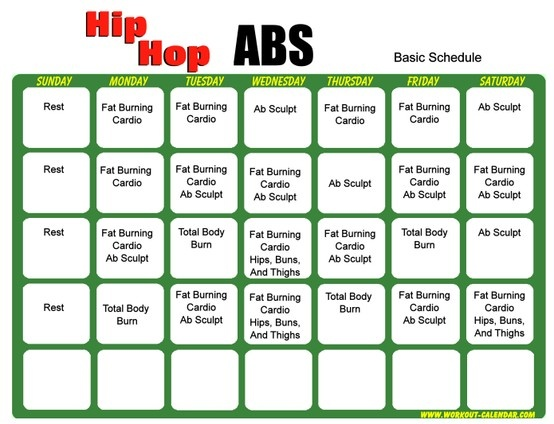 Workout Calendar For Abs : Best images about hip hop abs on pinterest p