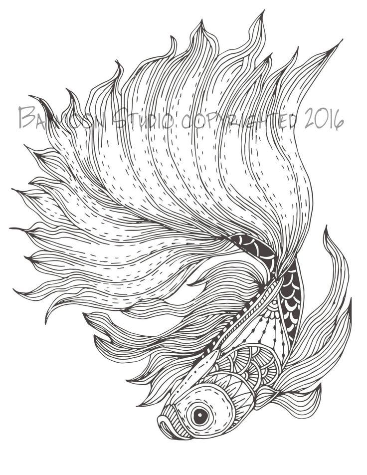 Página para colorear de pez luchador siamés por BAYMOONSTUDIO Más