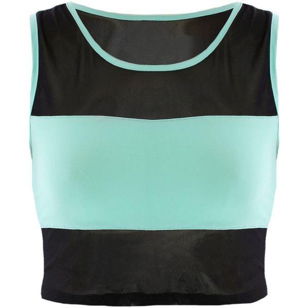 Mesh Blocking Crop Top, Mint (47 RON) ❤ liked on Polyvore featuring tops, crop top, shirts, mint shirt, black shirt, mesh shirt and mesh top