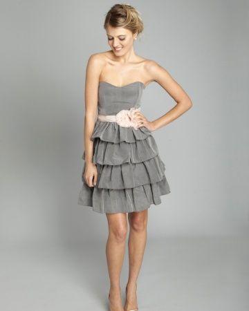 Short Gray and Pink Bridesmaid Dress