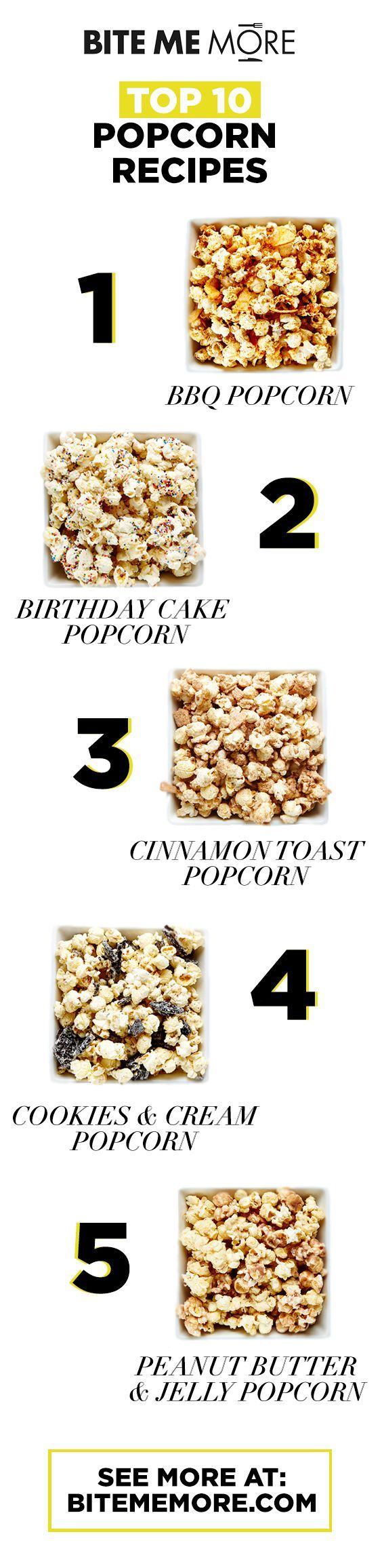 Pair your favourite movie with one or ALL of these delicious popcorn recipes! #BiteMeMore #Recipes #Popcorn