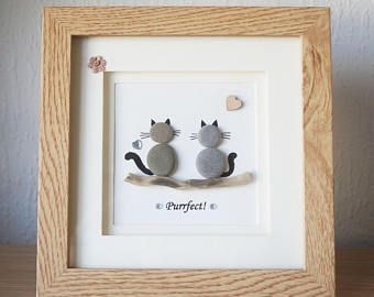 Pebble Art framed Picture - Cats - Purrfect