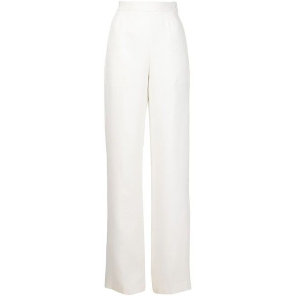 Maison Rabih Kayrouz high waisted wide leg trousers ($2,215) ❤ liked on Polyvore featuring pants, white, high rise pants, white trousers, maison rabih kayrouz, wide-leg pants and high rise wide leg pants