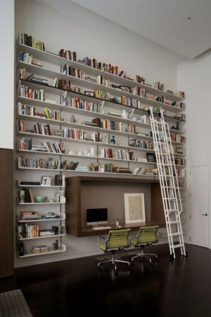 contemporary home office by David Howell Design: Ladder, Bookshelves, Bookshelf Design, Idea, Home Libraries, Libraries Shelves, Libraries Design, Desks, Home Offices