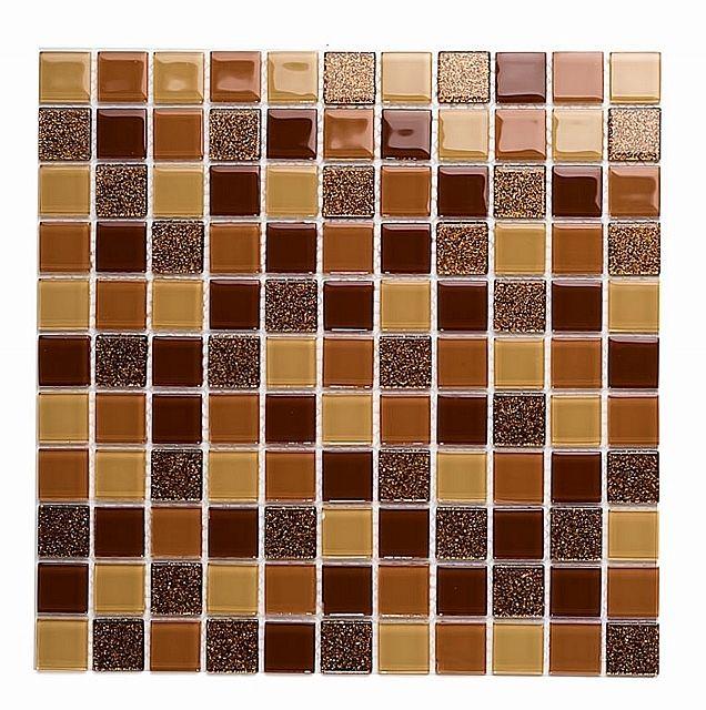 Mozaika Szklana z brokatem BRĄZOWA BEŻOWA MIX BM122 - Mozaika Luksusowa - Mozaika szklana, złota, srebrna, czarna, biała, fioletowa, czerwona, basenowa, kamienna, mozaiki szklane