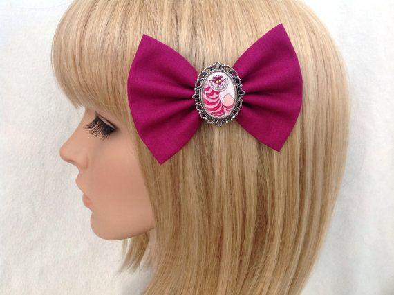Cheshire Cat Alice in wonderland hair bow by GrimAndProperDesigns