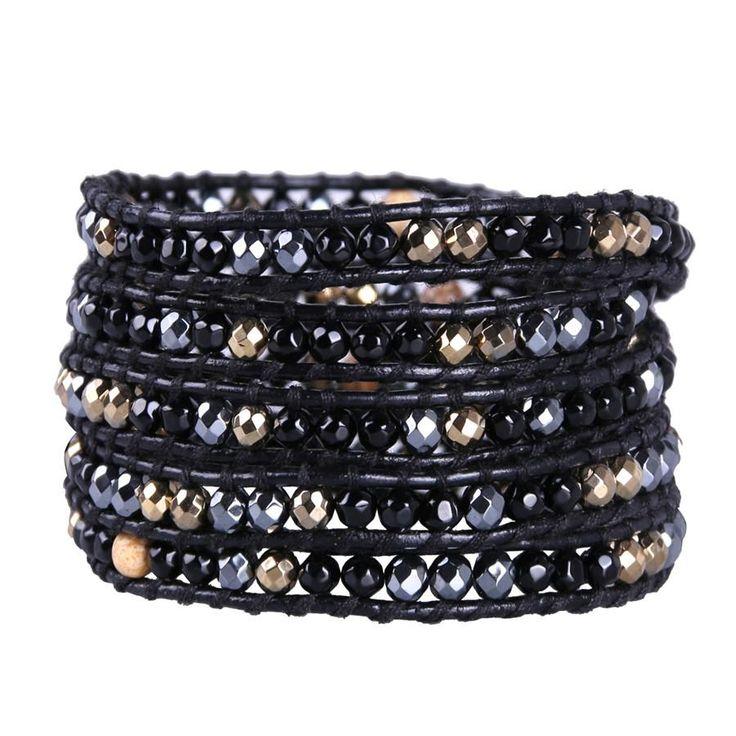 Black Agate And Hematite Bracelet