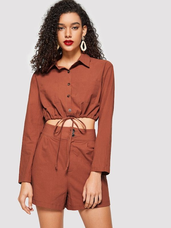Button Up Drawstring Hem Crop Shirt & Shorts Set -SHEIN(SHEINSIDE) | Conjuntos de moda, Camisas recortadas, Conjunto de dos piezas