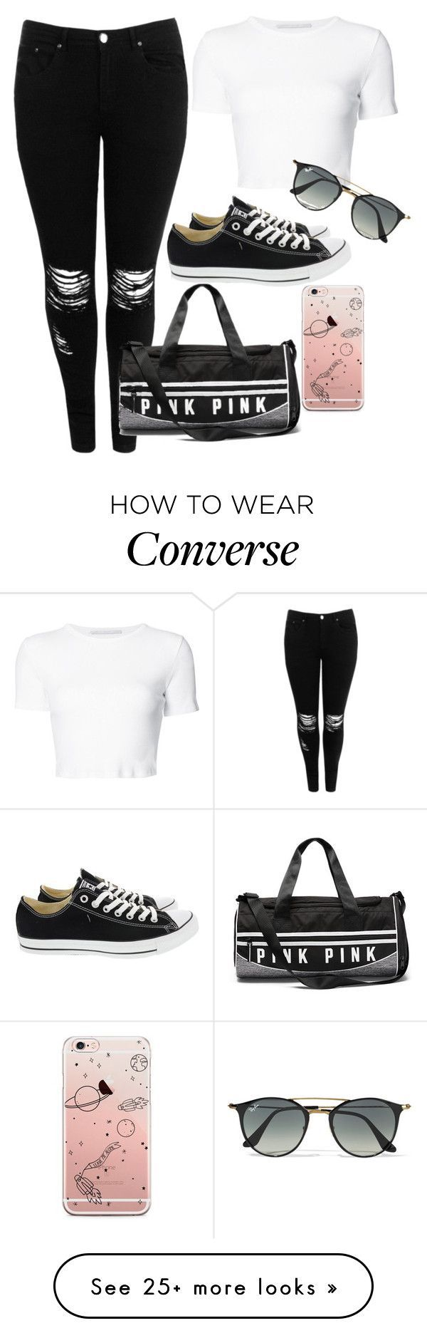 """Away"" by sugarbubbles on Polyvore featuring Boohoo, Rosetta Getty, Converse and Ray-Ban"