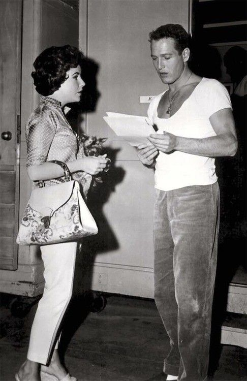 Elizabeth Taylor and Paul Newman on the set of 'Cat on a Hot Tin Roof', 1958. --> My all time favorite adaptation