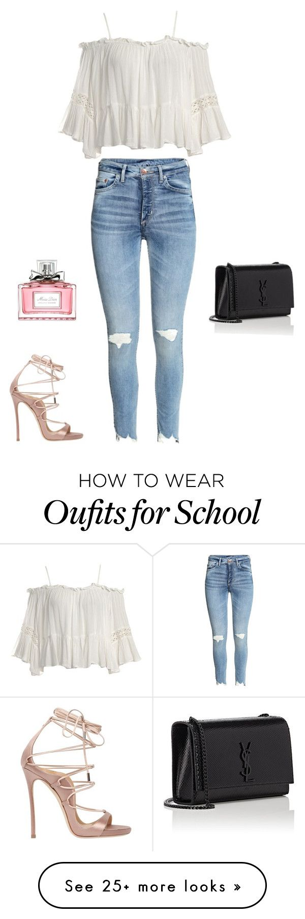 """""""School """" by naja-levin-hansen on Polyvore featuring Sans Souci, Dsquared2, Yves Saint Laurent and Christian Dior"""